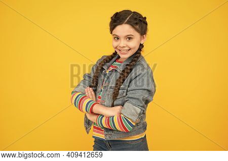 Casual Wear For Casual Day. Happy Girl Yellow Background. Little Child In Casual Style. Fashion Tren