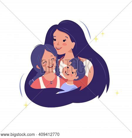 Mom Hugs Her Son And Daughter. Happy Family. Mom Love For Children. International Maternity Day, Wom