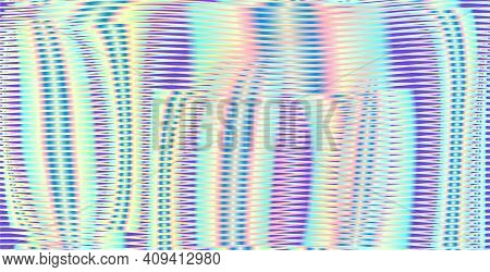 Abstract Iridescent Wavy Background With Blended Lines And Moir Effect. Multi Color Texture For Web