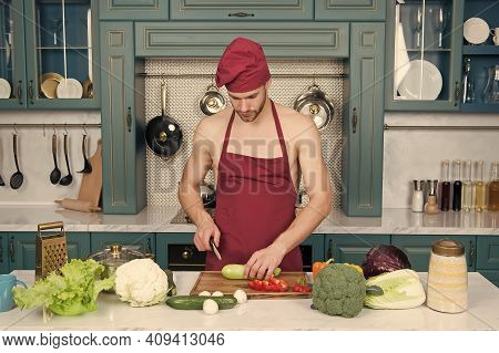 Sexy Naked Chef Cook Prepare Veggies For Cooking. Consume Only Plant Foods. Proud To Be Vegetarian.