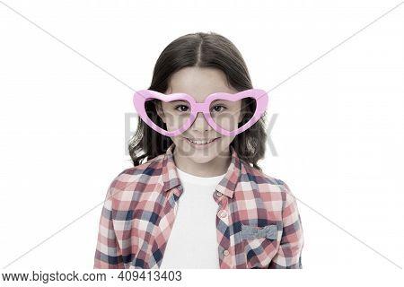 Childhood Love Concept. Child Charming Smile Fall In Love. Girl Heart Shaped Eyeglasses Celebrates V