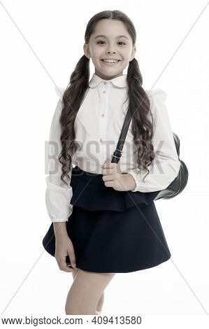 Learn How Fit Backpack Correctly For School. Schoolgirl Cute In Formal Uniform Wear Backpack. School