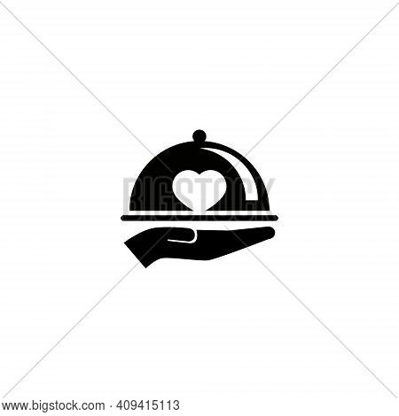 Tray And Heart Vector Illustration For A Foodie Icon Or Symbol. For The Logo Of Restaurants, Cafes A
