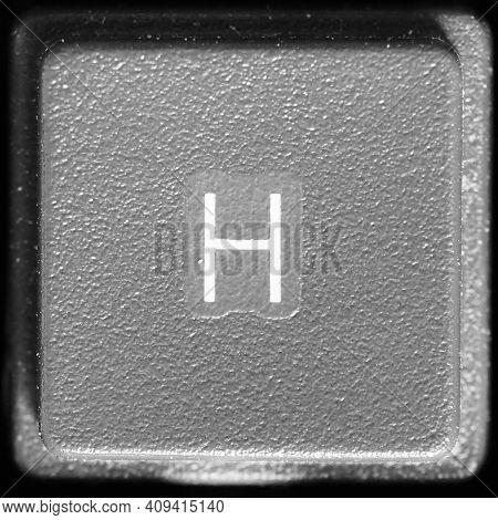 Letter H Key On Computer Keyboard Keypad