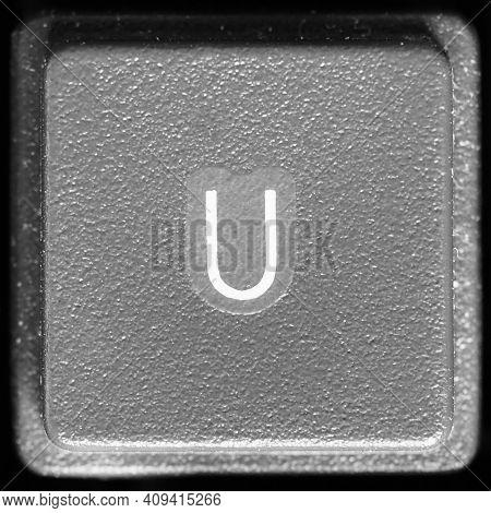 Letter U Key On Computer Keyboard Keypad