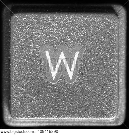 Letter W Key On Computer Keyboard Keypad
