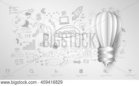 Light Bulb Idea. Plan Think Analyze Creative Startup Business. Illustration Creativity Modern Concep