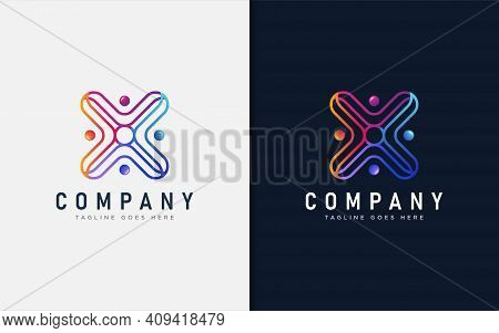 People Group Logo Design. Abstract Colorful Connecting People Concept, Usable For Brand Business, Te