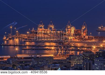 Haifa, Israel - January 07, 2016: Evening View Of The Port Of Haifa