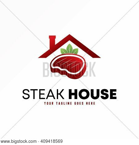 Roof Logo. Meat Design. Leaf Image. Restaurant Abstraction Concept. Can Be Used As A Symbol Related