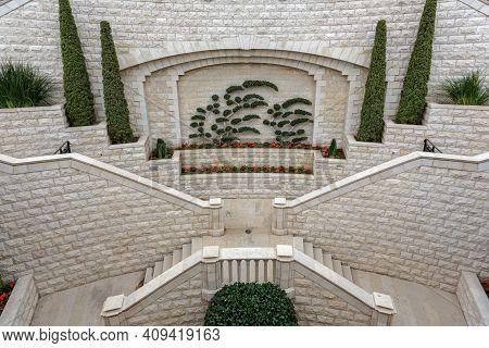 Haifa, Israel - January 07, 2016: Bahai Garden In Haifa, Israel