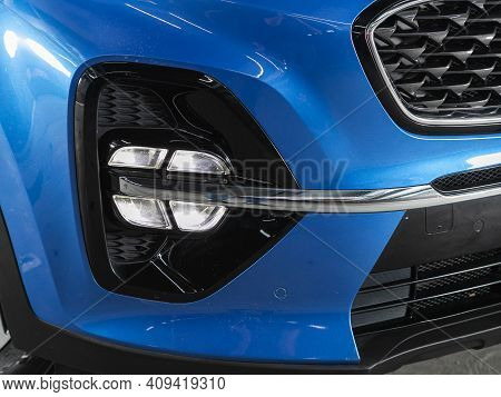 Novosibirsk, Russia - February 18 2021: Kia Sportage, Headlight Of A Modern Popular Car Close-up. Sh