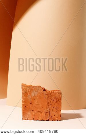Beige Bright Brick Podium Tile On A Beige Background, Natural Background With Hard Shadow For Your P