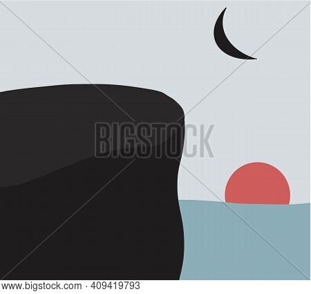 Abstract Contemporary Aesthetic Sun And Moon Backgrounds Sunset Landscape. Trendy Minimalist Landsca