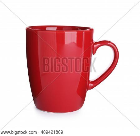 New Red Ceramic Cup Isolated On White