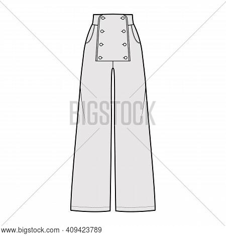 Set Of Pants Sailor Technical Fashion Illustration With Normal Waist, High Rise, Full Length, Pocket