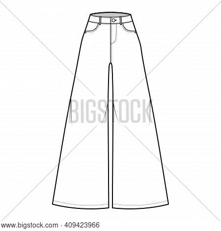 Jeans Baggy Wide Pants Denim Technical Fashion Illustration With Full Length, Normal Waist, High Ris