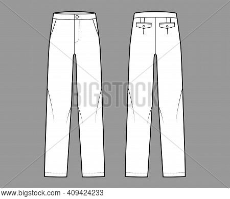 Pants Straight Silhouette Technical Fashion Illustration With Flat Front, Low Waist, Rise, Full Leng