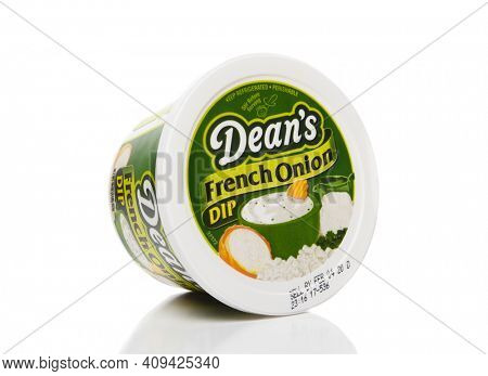 IRVINE, CALIFORNIA - 25 OCT 2019: A 16 ounce package of Deans French Onion Dip.