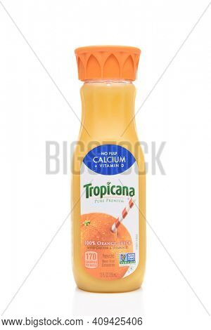 IRVINE, CA - AUGUST 6, 2018: Tropicana Orange Juice 12 ounce bottle. Tropicana works with more than 12 established Florida groves, and is the largest single buyer of Florida fruit.