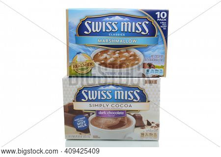 IRVINE, CA - JANUARY 4, 2018: Swiss Miss Hot Cocoa Mix. Swiss Miss is made with fresh milk from local farms, blended with premium imported cocoa.