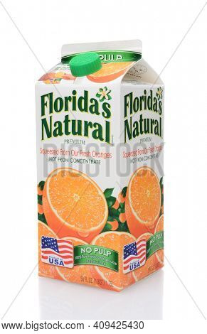 IRVINE, CA - MAY 25, 2014: A 59 ounce carton of Floridas Natural Orange Juice. Florida's Natural Growers is a cooperative based in Lake Wales, Florida, with over 1,100 grower members.