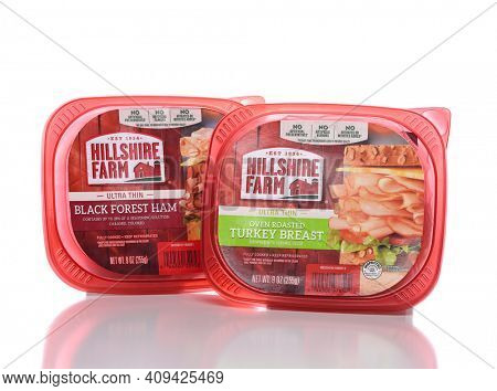 IRVINE, CALIFORNIA - 12 NOV 2020: Two Packages of Hillshire Farm Lunch Meats, Black Forest Ham and Oven Roasted Turkey Breast.