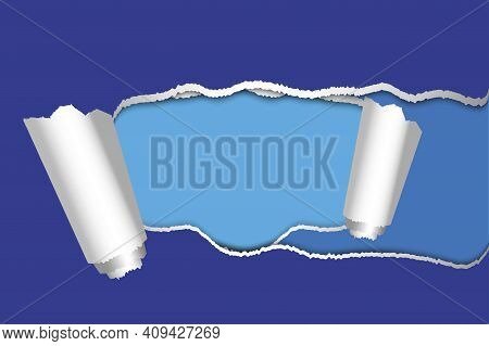 Blue Torn Paper. Torn Horizontal Paper On A Light Blue Background. Stock Image. Eps 10.