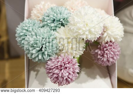 Ballpoint Pens In The Form Of Flowers On A Shop Counter. Bright, Unusual Stationery Goods.