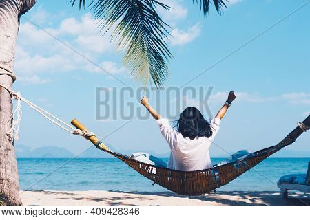 Copy Space Freedom Lady Hand Rising Up Summer Vacation And Freedom Concept Blue Sky And Mountain In