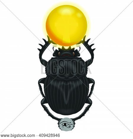 Ancient Egyptian Iconography, Scarab With Symbol Of The Eye Of Horus And Ankh Cross, Dung Beetle Fro