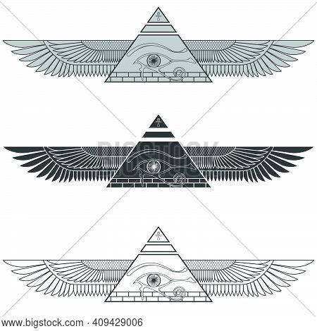 Silhouette Illustration Winged Pyramid With Eye Of Horus, Ancient Egyptian Pyramid With Wings, Balco