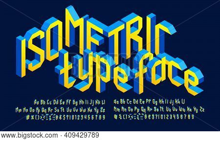 3d Isometric Alphabet Font. 3d Letters, Numbers And Punctuation. Uppercase And Lowercase. Stock Vect