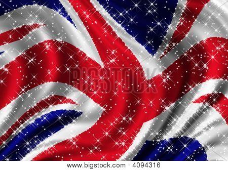 Starry Union Jack Billowing In Wind