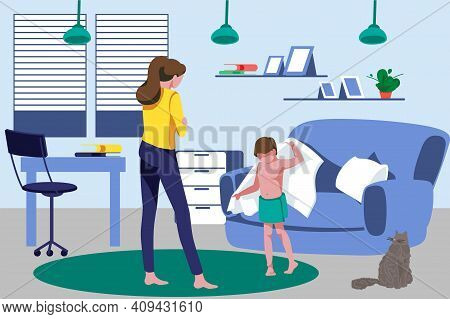 Mother And Son Spending Time At Home. Mom Talking With Her Son Who Drying Himself With Towel. Cosy R