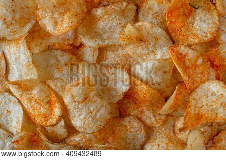 View Of Crispy And Spicy Potato Chips. Common Indian Savory Item