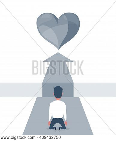 No Way To Love. Love, Relationship And Search Concept. Flat Design. Sad Businessman Kneeling And Loo