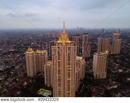 Pakubuwono Skyline Aerial Drone View From Above, Jakarta Downtown Skyscrapers Cityscape And Noise Cl