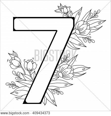 Flower Number Seven. Decorative Pattern 7 With Flowers, Tulips, Buds And Leaves. Vector Illustration