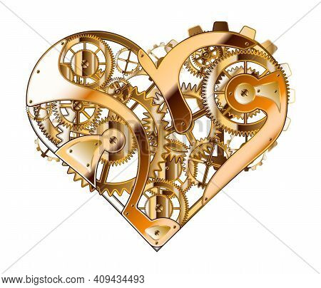 Vector Illustration Of Golden Mechanical Heart. Heart As A Mechanism