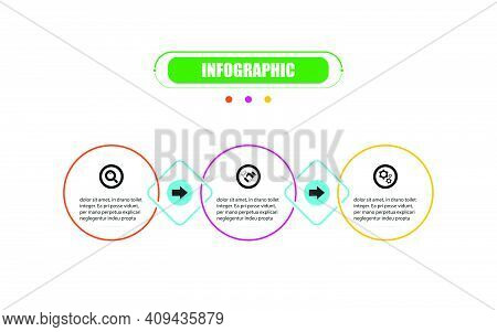 Presentation Business Infographic Template With Three Options. Vector Infographic Circle Label Banne