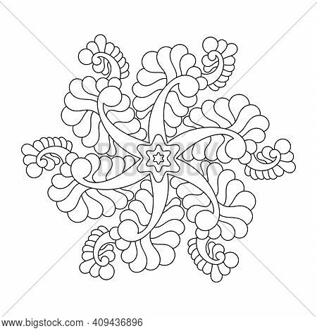 A Simple Botanical Print Of A Mandala. Easy Coloring Illustration Page For Kids And Beginners. Hand