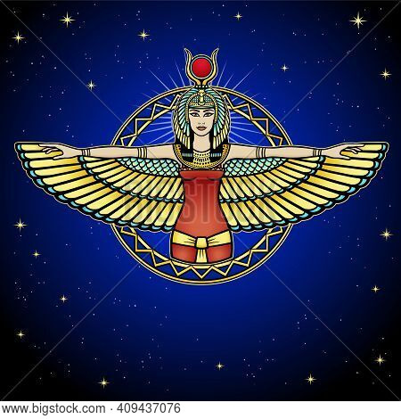 Animation Portrait Of Ancient Egyptian Winged Goddess. Color Drawing. Vector Illustration, Backgroun