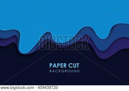 Papercut Wavy Geometric Topography Or Paper Cut Liquid Geometric Gradient Pattern On Blue 3d Multi L