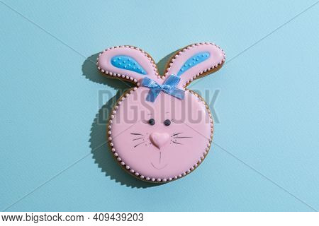 Easter Bakery. Festive Pastry. Traditional Holiday Gift. Pretty Bunny Gingerbread Figure With Pink B