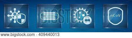 Set Shield Protecting From Virus, Medical Protective Mask, Negative Virus And Shield Protecting From