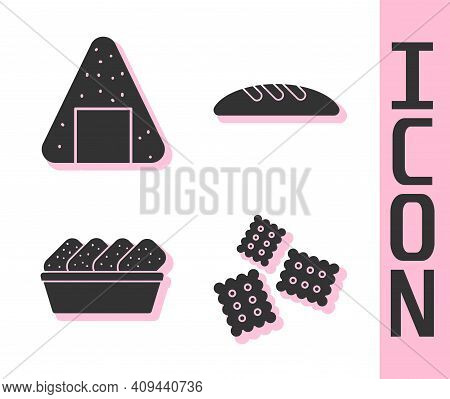 Set Cracker Biscuit, Onigiri, Chicken Nuggets In Box And Bread Loaf Icon. Vector