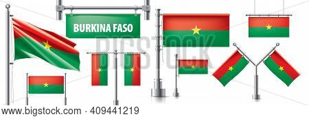 Vector Set Of The National Flag Of Burkina Faso In Various Creative Designs