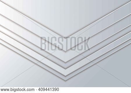 White Paper Cut Arrow Overlap Background. Abstract Realistic Layered Papercut Decoration Textured. 3