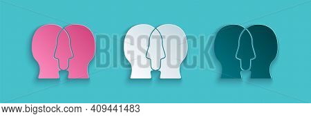Paper Cut Bipolar Disorder Icon Isolated On Blue Background. Paper Art Style. Vector